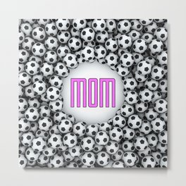 Soccer Mom / 3D render of hundreds of soccer balls framing Mom text Metal Print