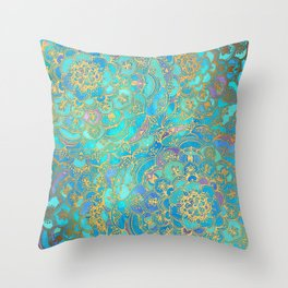 Sapphire & Jade Stained Glass Mandalas Throw Pillow