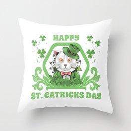 Funny Cat St Patricks Day 2020 Fun Gift Leprechaun Throw Pillow