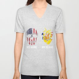Europe Catalan Patriotism USA Andorra American European Country Gift My Home My Blood Unisex V-Neck