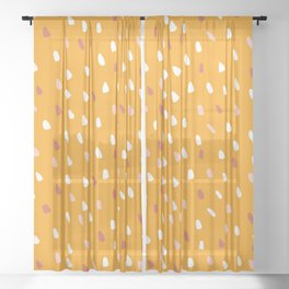 Cute Art Yellow, Speckled Dots, Abstract Art Sheer Curtain
