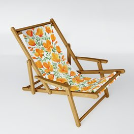 Watercolor California poppies Sling Chair
