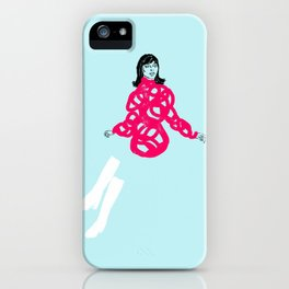 She was wearing white boots iPhone Case