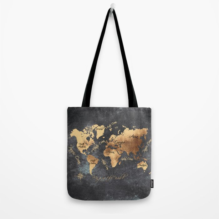 world map 147 gold black #worldmap #map Tote Bag