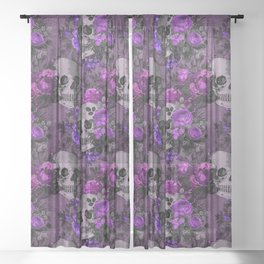 Gothic Flower Skulls Sheer Curtain