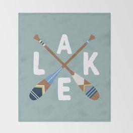 LAKE LIFE Painted Paddle Oars Throw Blanket