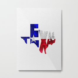 Texas Typographic Flag Map Art Metal Print