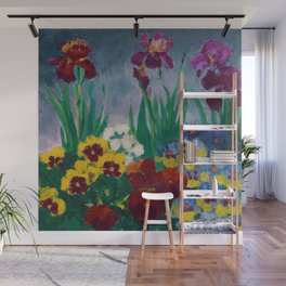 Floral Garden of Iris and Pansies Still Life Painting by Emil Nolde Wall Mural