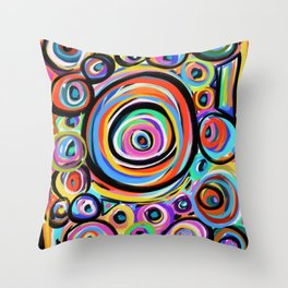 Rings of Color, Water Drop Patterns, Colorful Raindrops Throw Pillow