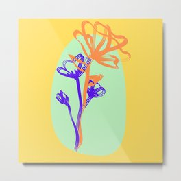Orange and Blue Flower Metal Print