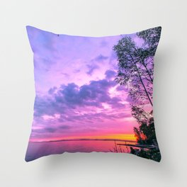 Day fading into the lake Throw Pillow