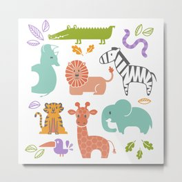 Zoo Pattern in Soft Colors Metal Print