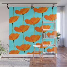 Poppies On A Turquoise Background #decor #society6 #buyart Wall Mural