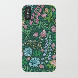 Violet clover and lupine among cornflowers and herbs iPhone Case