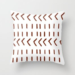Lines and Arrows in Rust on White  Throw Pillow