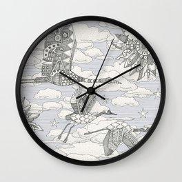 steampunk crane toile lavender Wall Clock