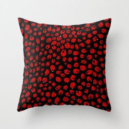 Ladybugs (Red on Black Variant) Throw Pillow