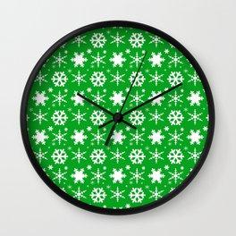 Snowflakes Green Wall Clock