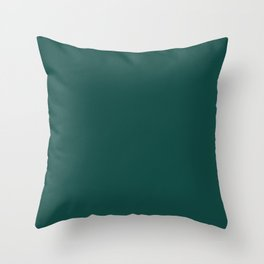 Deep Dark Jungle Foliage Green Blue Solid Color Pairs To Sherwin Williams Country Squire SW 6475 Throw Pillow