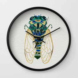 Green & Gold Cicada Wall Clock