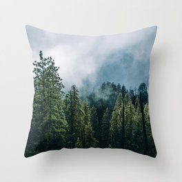 Sequoia Foggy Forest Throw Pillow