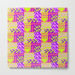 Geometrical abstract pink lilac neon yellow triangles pattern Metal Print