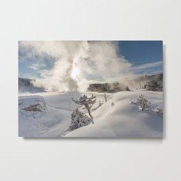 Yellowstone Winter Snow Sunrise Metal Print