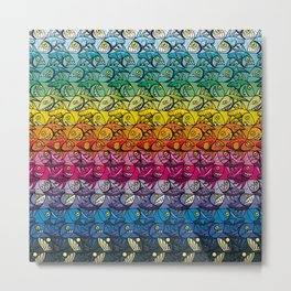 Escher Fish Rainbow Pattern Metal Print