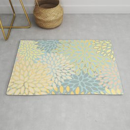 Floral Prints, Soft Yellow and Teal, Modern Print Art Rug