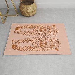 Sunset Blvd Leopard - blush pink and coral original print by Kristen Baker Rug