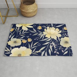 Modern, Floral Prints, Yellow and Navy Blue Rug