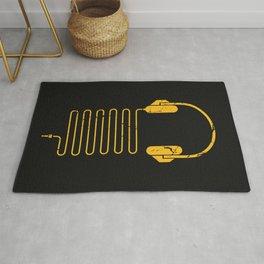 Gold Headphones Rug