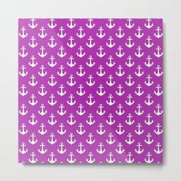 Anchors (White & Purple Pattern) Metal Print