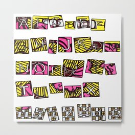 Pink Pastel Alphabet Blocks Metal Print