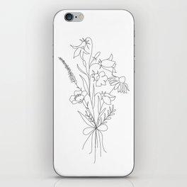 Small Wildflowers Minimalist Line Art iPhone Skin