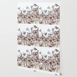 Butterfly Flowers And Butterflies Stencil Wallpaper