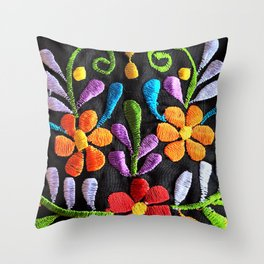 Mexican Flowers Throw Pillow