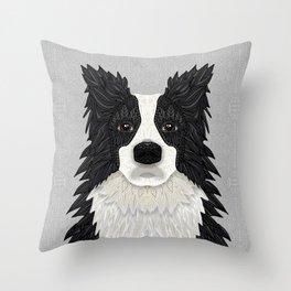 Black Border Collie Throw Pillow