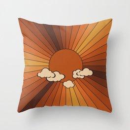 Retro Sunshine Throw Pillow