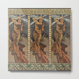 """Alphonse Mucha """"The Moon and the Stars Series: The Morning Star"""" Metal Print"""