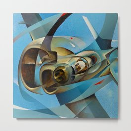 Monoplane in Flight by T. Crali Metal Print