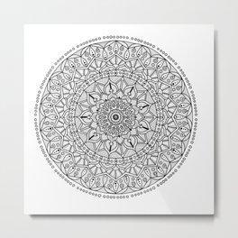 Circle of Life Mandala Black and White Metal Print