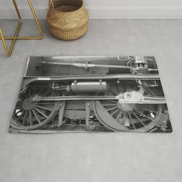 Old steam locomotive in the depot ZUG004CBx Le France black and white fine art photography by Ksavera Rug