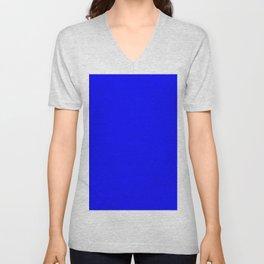 Blue Azul Bleu Blau синий Blu Unisex V-Neck