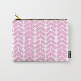 Hand-Drawn Herringbone (Pink & White Pattern) Carry-All Pouch