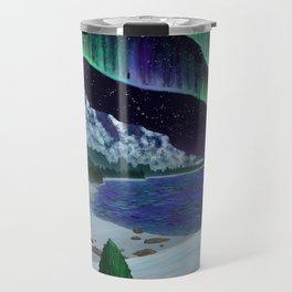 Northern Lights Over Snowscape Travel Mug