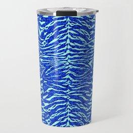 Blue Glitter Tiger Print Travel Mug