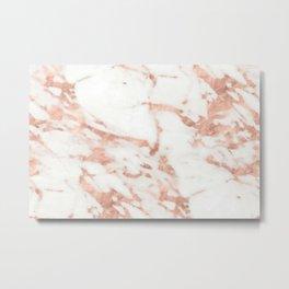 Marble - Metallic Rose Gold Marble Pattern Metal Print