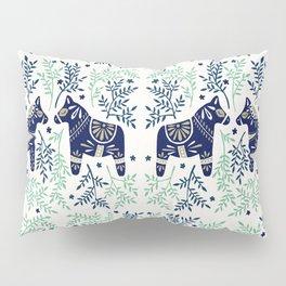 Swedish Dala Horse – Navy & Mint Palette Pillow Sham