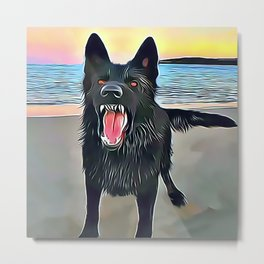 Vicious Black Wolf Metal Print
